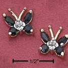 Sterling Silver Vermeil Butterfly Post Earrings w/Genuine Sapphires