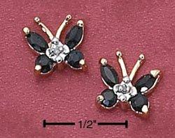 Sterling Silver Vermeil Butterfly Post Earrings w/Genuine Sapphires