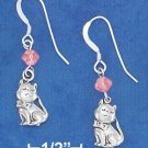 Sterling Silver Antiqued Cat w/Pink Swarovski Xtal on French Wire Earrings