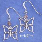 Sterling Silver Butterfly w/Orange Swarovski Xtal French Wire Earrings
