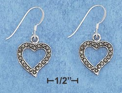 Sterling Silver Marcasite Heart French Wire Earrings