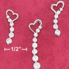 Sterling Silver Rhodium Plated Heart w/Journey CZ Earrings & Pendant