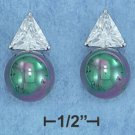 Sterling Silver w/Platinum Plating Faux Black Pearl CZ Post Earrings