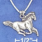 Sterling Silver Antiqued Running Horse Choker Pendant