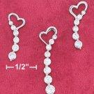Sterling Silver Rhodium Plated Heart w/Journey CZ Earrings & Pendant