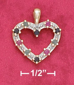 Sterling Silver Sapphire Ruby Emerald & Illusion Setting Heart Pendant