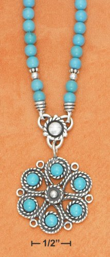 Sterling Silver Turquoise Bead Flower Necklace