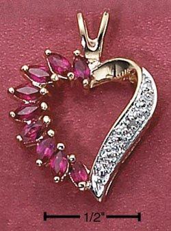 Sterling Silver Vermeil Ruby Heart Pendant