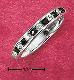 Sterling Silver Cubic Zirconia & Synthetic Garnet Eternity Band