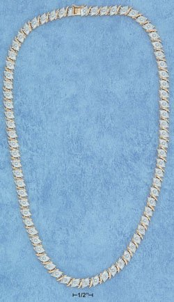 Sterling Silver Vermeil Diamond Shaped Rose-Cut Necklace
