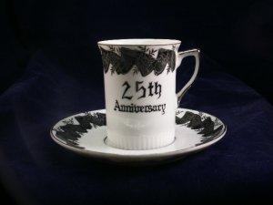 Norcrest China 25th Anniversary demitasse tea cup and saucer platinum C-476