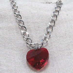 Red heart charm Austrian crystal with 7-inch silver chain