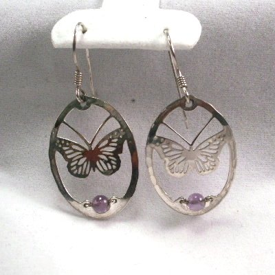 Wild Bryde Butterfly with amethyst bead earrings signed