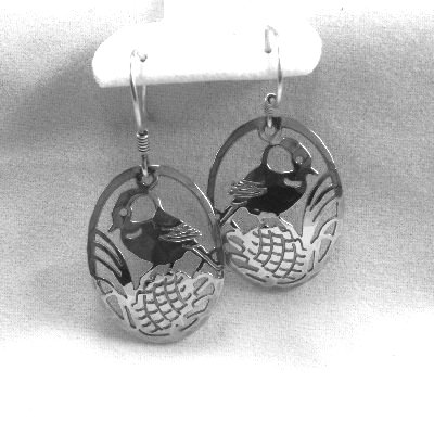 Wild Bryde Chickadee and pine cone earrings rhodium silver