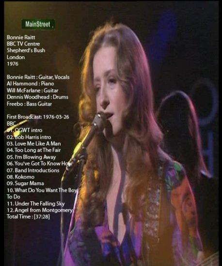 Bonnie Raitt 1976 Live DVD