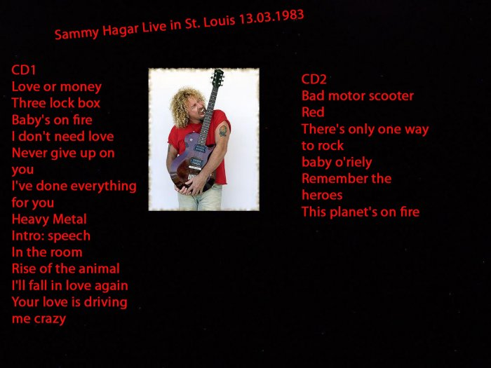 Sammy Hager Of Van Halen 2 CD Live Set
