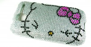 Silver Hello Kitty Bling Crystal Case Cover for HTC G7 Desire