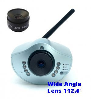 Wireless Network IP Webcam / IP Security Remote Camera - CIC-901W + Wide Angle Lens 112.6°