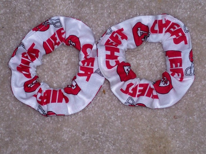 2 Kansas City Chiefs Football Fabric Mini Hair Scrunchies Scrunchie NFL