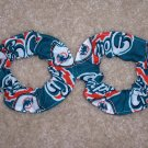 2 Miami Dolphins Football Fabric Mini Hair Scrunchies Scrunchie NFL