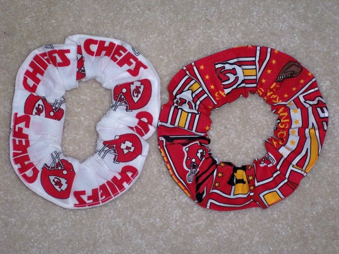 2 Kansas City Chiefs Football Fabric Hair Scrunchies Scrunchie NFL