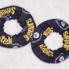 2 Pittsburgh Steelers Football Black Fabric Mini Hair Scrunchies Scrunchie NFL