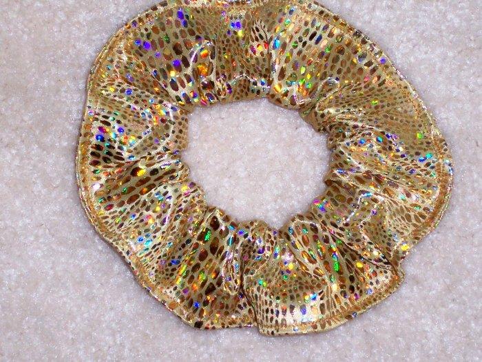 Gold Metallic Incandescent Fabric Hair Scrunchie Scrunchies