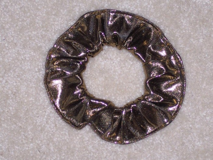 Gold Metallic Glitter Knit Fabric Hair Scrunchie Scrunchies