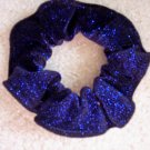 Royal Blue Bejeweled Velvet Glitter Fabric Hair Scrunchie Scrunchies