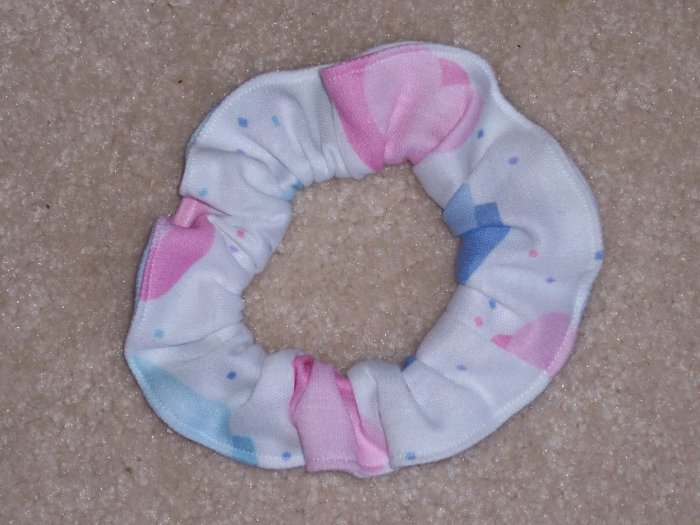 Pink Blue Purple Hearts White Fabric Hair Scrunchie Scrunchies