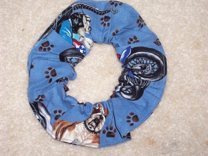 Dogs on Motorcycles Bikes Print Fbaric hair Scrunchie Scrunchies