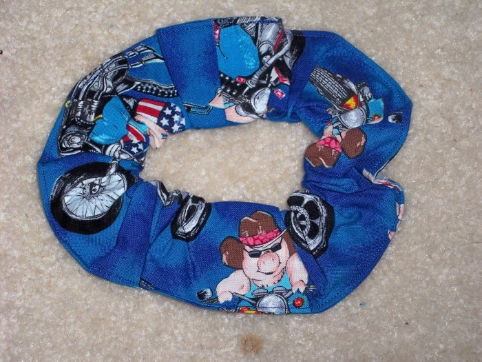 Pigs Hogs on Bikes Motorcycles Fabric hair Scrunchie Scrunchies