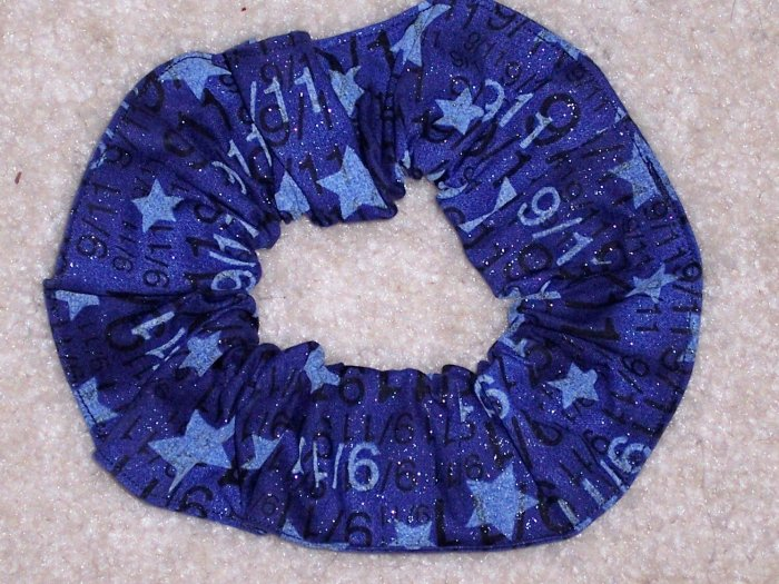 America Remembers 9/11 Blue Glitter Fabric Hair Scrunchie Scrunchies