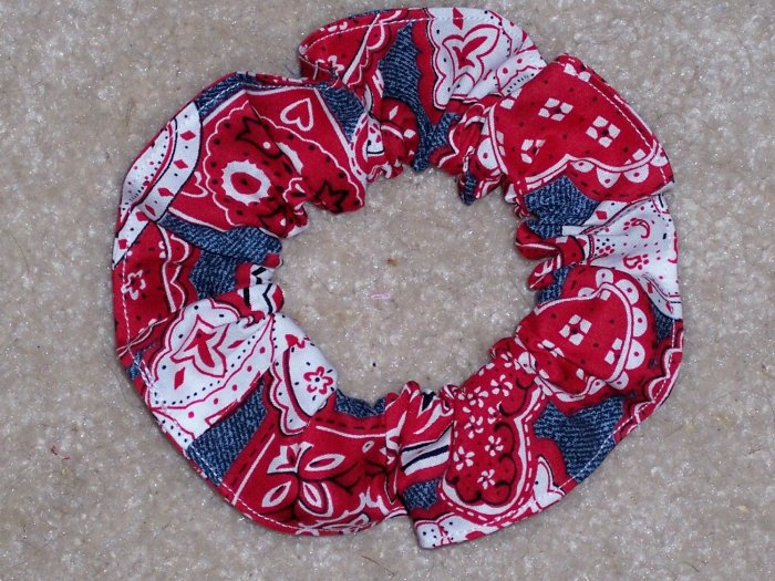 Demin Red Hearts Bandana Print Fabric hair Scrunchie Scrunchies