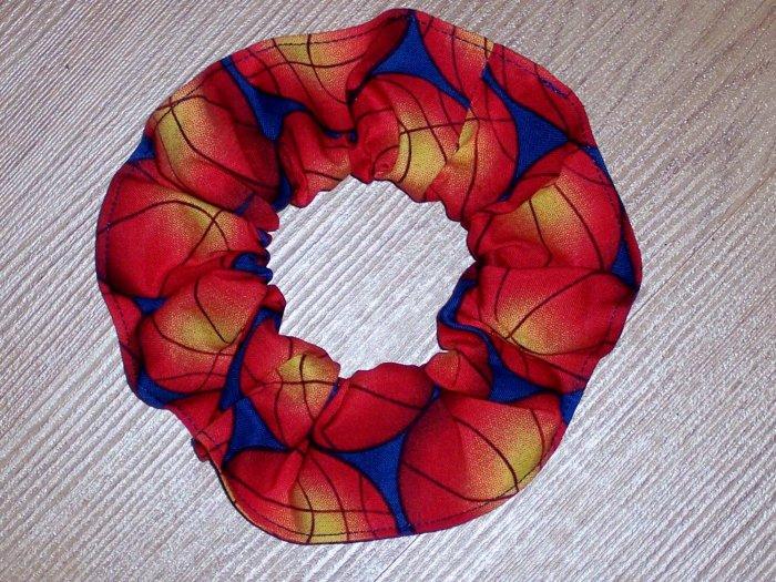 Basketballs Basketball On Blue Fabric Hair Scrunchie Scrunchies