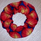 Basketballs Basketball On Blue Fabric Hair Scrunchie Scrunchies