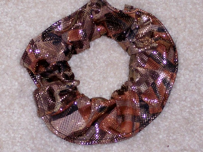Gold Metallic Print Fabric Hair Scrunchie Scrunchies