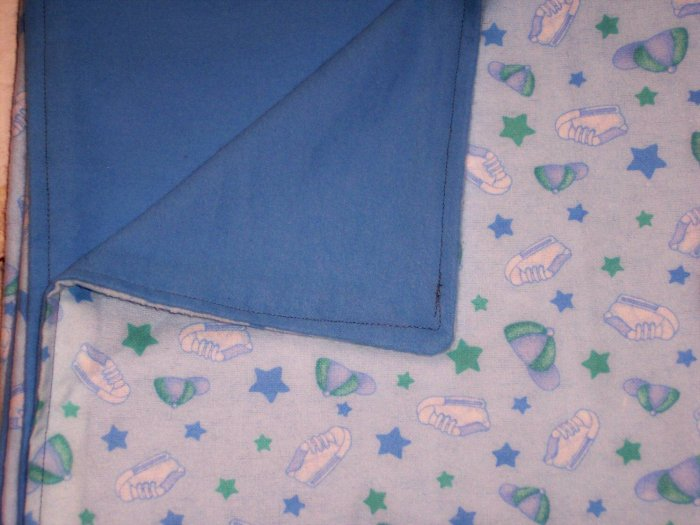 Baseball Hats & Sneakers Blue & Green Baby Boy Double Flannel Crib Blanket
