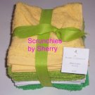 12 Washcloths White Green Yellow 12 x 12