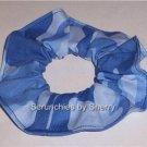 Blue Camo Fabric Hair Scrunchie Scrunchies Ties
