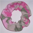 Pink & Green Camo Fabric Hair Scrunchie Scrunchies Ties