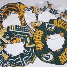 4 Green Bay Packers Fabric Hair Scrunchies Ties NFL