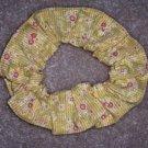 Yellow Flowers Print  Fabric Hair Scrunchie Scrunchies