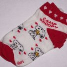 GIRLS CAMP SNOOPY SHORT SOCKS 6-8 NEW