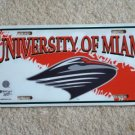 Maimi Hurricanes  Car License PlateTag NCAA