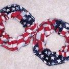2 Waving USA Flags Fabric Mini Hair Scrunchies Kids