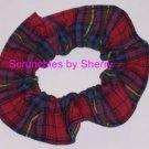 Classic Red Blue Plaid Fabric Hair Scrunchie Ties