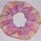 Pink Green Purple Yellow Plaid Fabric Hair Scrunchie