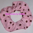 Brown on Pink Polka Dots Dot Fabric Hair Scrunchie Ties