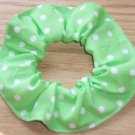 White on Light Green Polka Dots Dot Fabric Hair Scrunchie Ties